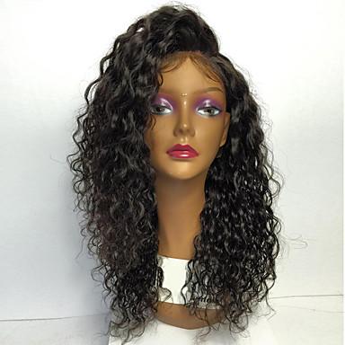 Vrouw Kanten pruiken van echt mensenhaar Full Lace Wigs Dichtheid Kinky Curly Pruiken Pik zwart Zwart Donkerbruin Kastanjebruin Kort