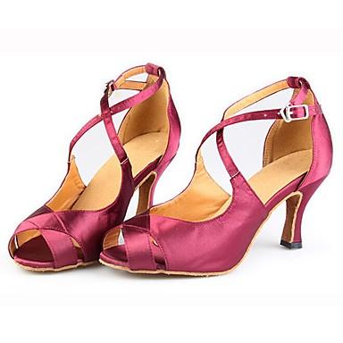 Feminino Latina Salsa Cetim Sandália Salto Interior Apresentação Fivela Salto Personalizado Rosa claro 1