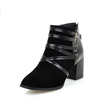 Støvler-PU-Modestøvler-Dame-Sort Mandel-Fritid-Tyk hæl