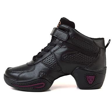 Mulheres Tênis de Dança Courino Sapatilha / Salto Fru-Fru / Franzido Salto Baixo Personalizável Sapatos de Dança Preto / Espetáculo
