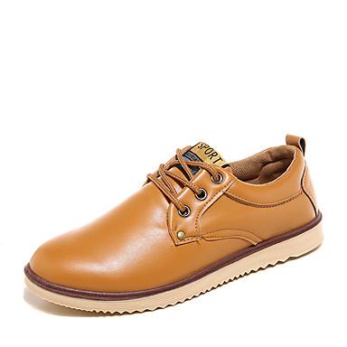 メンズ 靴 レザーレット 冬 春 夏 秋 コンフォートシューズ オックスフォードシューズ 編み上げ のために カジュアル ブラック イエロー Brown