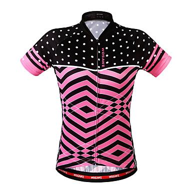 WOSAWE Mujer Manga Corta Maillot de Ciclismo - Rosa Bicicleta Camiseta / Maillot, Transpirable, Reductor del Sudor Poliéster