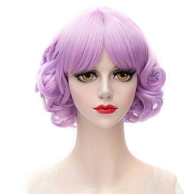 Synthetische Perücken Mit Pony Synthetische Haare Lila Perücke Damen Kurz Kappenlos Violett