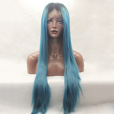 Syntetiske parykker Lige Blåt Blonde Front Naturlig paryk Lang Syntetisk hår