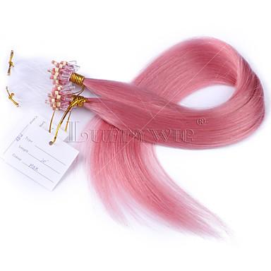 Recht  Microring haarextension Extensions van echt haar 100 Strands / Pack 1g / Strand Roze 22 inch 24 inch 26 inch 8 inch 28 inch