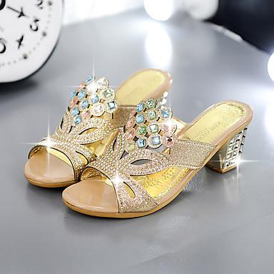 Feminino-Sandálias-Chanel-Salto Grosso-Preto Azul Dourado-Couro Ecológico-Casual
