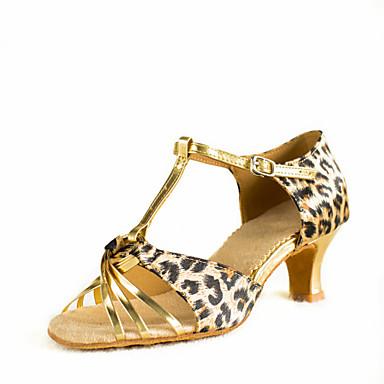 בגדי ריקוד נשים נעליים לטיניות דמוי עור סטן סנדלים בבית אימון אבזם עקב מותאם 2 - 2 3/4inch מותאם אישית