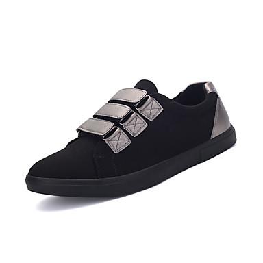 Masculino sapatos Tecido Primavera Outono Conforto Tênis Velcro Para Casual Preto Prata