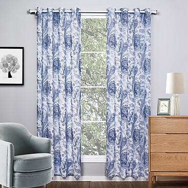 Propp Topp To paneler Window Treatment Moderne, Trykk Stue Polyester Materiale Gardiner Skygge Hjem Dekor