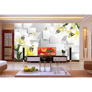 Ensfarvet Damask Blomstret Geometrisk Art Deco Flise Stribe Hjem Dekoration Luksus Vægbeklædning, Ikke vævet papir Materiale Lim påkrævet
