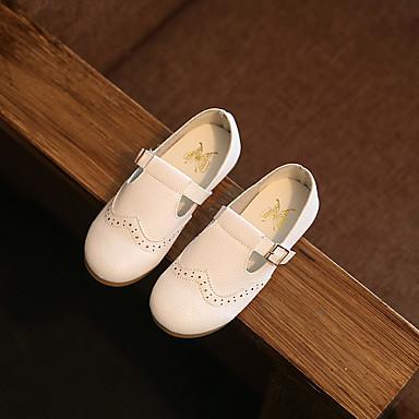 Para Meninas Sapatos Courino Primavera Verão Outono Mocassins e Slip-Ons Rasteiro Presilha Para Branco Preto Rosa claro