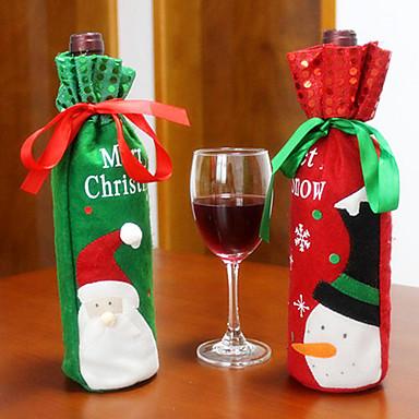 2pcs heißer Verkauf Weihnachtsdekoration Weihnachtsmann Schneemann Rotwein Flaschenabdeckung