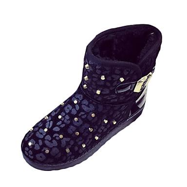 Støvler-Pels Kunstlæder Hestehår-Snowboots-Dame-Sort Sølv Guld-Fritid-Flad hæl