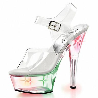 Lumineuses Chaussures Habillé PVC Eté Décontracté Talons Chaussures Chaussures de club Aiguille pour Chaussures à LED Femme Talon 05238728 Automne YT8RFq