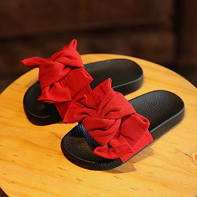Meisjes Schoenen Katoen Zomer Slippers & Flip-Flops Platte hak Bloem Voor Causaal Zwart Rood Groen Roze