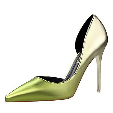 Feminino-Saltos-Conforto / Bico Fino / Bico Fechado-Rasteiro-Preto / Verde / Roxo / Vermelho / Prateado / Dourado-Courino-Casual