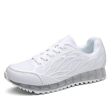 Dames Sneakers Comfortabel Weefsel Lente Herfst Causaal Comfortabel Veters Platte hak Wit Groen Roze Plat