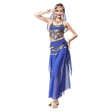 Belly Dance Outfits Women's Performance Chiffon Sequined Metal Ruffles Gold Coins Sash/Ribbon Sequins Crystals/Rhinestones 4 Pieces