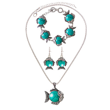 Damen Gliederkette Schmuck-Set - Charme, Böhmische, Modisch Einschließen Halskette / Armband / Halskette / Ohrringe Schwarz / Rot / Grün Für Alltag / Normal