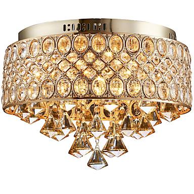 4-Light Takplafond Omgivelseslys Gylden Metall Krystall, designere 110-120V / 220-240V Pære ikke Inkludert / E12 / E14
