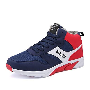 Masculino-Tênis-Conforto-Rasteiro-Preto Azul Vermelho-Couro Ecológico-Casual