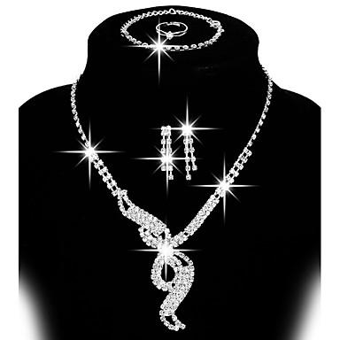 Dame Smykkesæt - Rhinsten, Sølvbelagt Lænke / kæde, Justérbar, Mode Omfatte Stangøreringe / Dråbeøreringe / Bib halskæde Sølv Til Bryllup / Fest / Gave / Ringe / Daglig / Afslappet / Øreringe