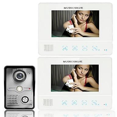 ennio7 7 inch TFT touch screen kleuren LCD video deurtelefoon bedrade video-intercom 2-monitor deurbel intercom systeem