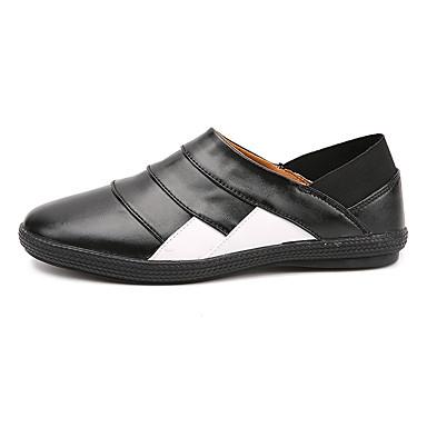 Sneakers-Læder-Komfort-Herre-Sort Brun Hvid Sort og Hvid-Fritid-Flad hæl