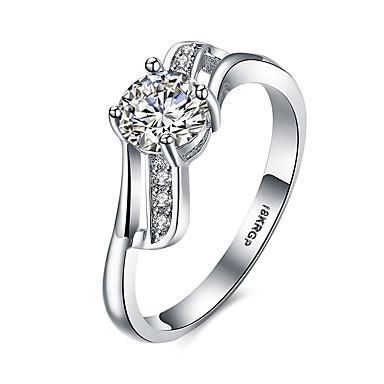 Damen Sterling Silber Zirkon Kubikzirkonia Diamantimitate Statement-Ring Bandring - Personalisiert Luxus Böhmische Liebe Herz
