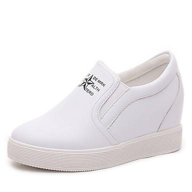 Mulheres Sapatos Couro Ecológico Verão Outono Saltos Salto Plataforma para Casual Escritório e Carreira Branco Preto