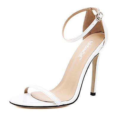 Mujer Zapatos Cuero PVC Verano Confort Sandalias Tacón Stiletto Blanco / Negro / Rojo 1ClWF2