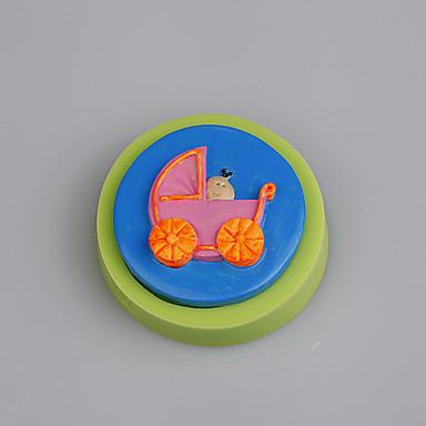Baby carriage vorm siliconen schimmel fondant cake decoreren kleur willekeurig