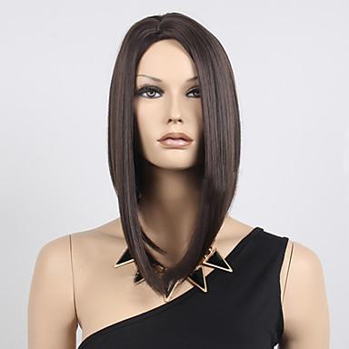 Syntetiske parykker Rett Blond Bobfrisyre Syntetisk hår Bob med midtskill / Midtskill Svart / Blond Parykk Dame Kort Lokkløs Svart