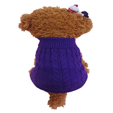 Perro Suéteres Ropa para Perro Flor Naranja Morado Fibra de acrílico Disfraz Para mascotas Hombre Mujer Moda