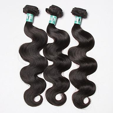 3 Bündel Brasilianisches Haar Große Wellen 10A Unbehandeltes Haar Menschenhaar spinnt Menschliches Haar Webarten Weich Haarverlängerungen