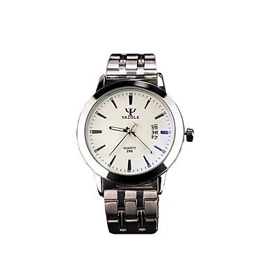 Voor Stel Dress horloge Modieus horloge Polshorloge Kwarts Kalender s Nachts oplichtend Roestvrij staal Band Vrijetijdsschoenen Zilver