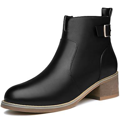 Støvler-Kunstlæder-Komfort Modestøvler-Dame-Sort Khaki-Kontor Formelt Fritid-Lav hæl