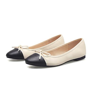 Feminino Sapatos Sintético Primavera Verão Outono Conforto Rasos Rasteiro Laço Para Casual Social Branco Preto Amêndoa