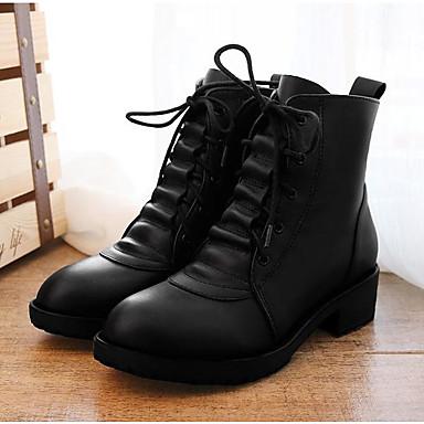 Feminino Sapatos Pele Primavera Outono Inverno Botas de Montaria Botas Salto Cone Cadarço Para Social Preto