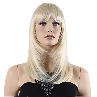 Vrouw Synthetische pruiken Zonder kap Middel Recht Blond Met pony Natuurlijke pruik Kostuumpruiken