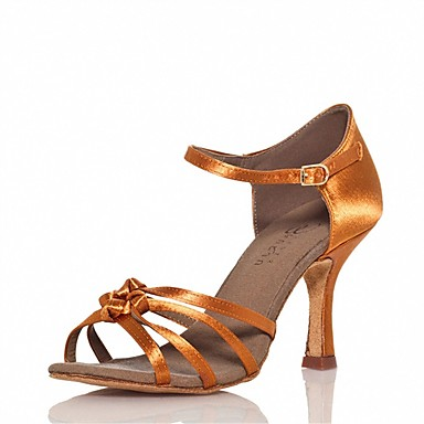 Damen Latin Salsa Satin Sandalen Absätze Innen Leistung Schnalle Rüschen Maßgefertigter Absatz Braun 1
