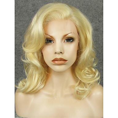 tanie Syntetyczne peruki z siateczką-Peruki syntetyczne Curly Styl Siateczka z przodu Peruka Blond Blond Włosie synetyczne Damskie Blond Peruka Peruka naturalna