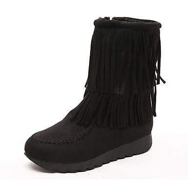 Støvler-Ruskind-Modestøvler-Dame-Sort Brun Rød-Fritid-Flad hæl