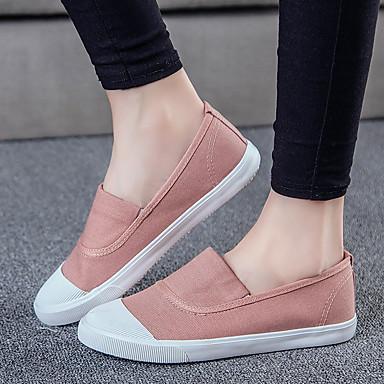 Dames Schoenen Canvas Lente Zomer Comfortabel Sneakers Wandelen Platte hak Voor Wit Zwart Rood