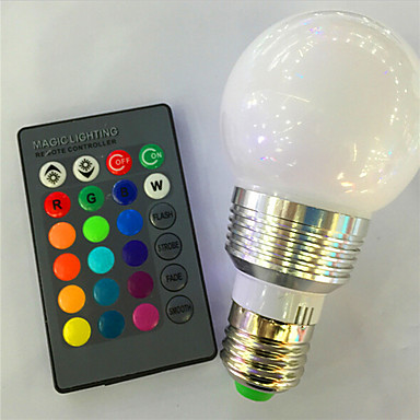 1pc 3 W 120 lm E26 / E27 Smart LED-lampe A60(A19) 1 LED perler Høyeffekts-LED Mulighet for demping / Fjernstyrt / Dekorativ RGB 85-265 V / 1 stk. / RoHs