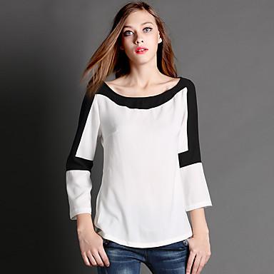 AJIDUO® Feminino Decote Redondo Manga Comprida Camisa Branco-9135