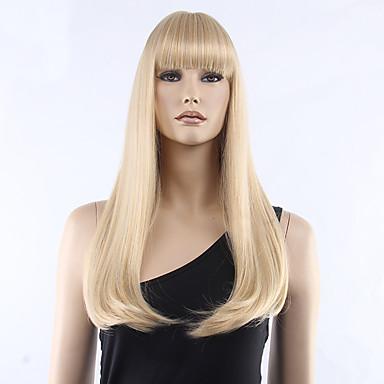 Syntetiske parykker Rett Med lugg tetthet Lokkløs Dame Blond Karneval Parykk Halloween parykk Naturlig parykk Medium Syntetisk hår