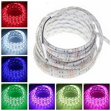 5m Flexible LED Light Strips 300 LEDs 5050 SMD Warm White / RGB / White Cuttable / Dimmable / Waterproof 12 V / IP65 / Linkable / Suitable for Vehicles / Self-adhesive