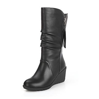 Naisten Kengät PU Talvi Maiharit Comfort Bootsit Kävely Korokekengät Pyöreä kärkinen Vetoketjuilla varten Kausaliteetti Musta