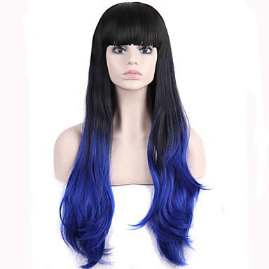 Synteettiset peruukit Laineita Otsatukalla Tiheys Suojuksettomat Naisten Sininen Luonnollinen peruukki Synteettiset hiukset